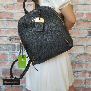 Kate Spade Caden Carter black leather backpack bag